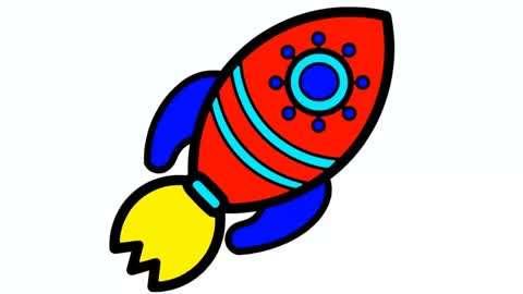 儿童宝宝学画画 简笔画火箭