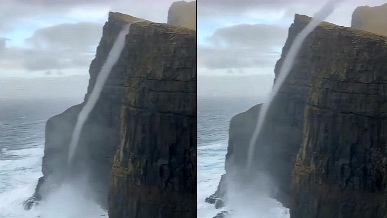 """不可思议!丹麦现""""反重力""""瀑布,逆流而上冲过470米绝壁"""