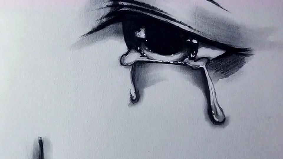 绘画教学:今日教学之绘画动漫版流泪的眼睛!真是太美了!