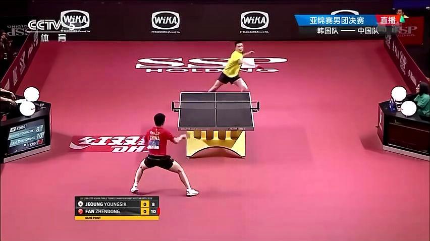 中国队3-0完胜韩国队 夺乒乓球亚锦赛男团冠军