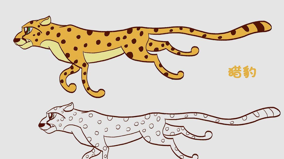 简笔画大全,猎豹(四)图片