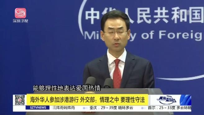 海外华人参加涉港游行,外交部:情理之中,要理性守法