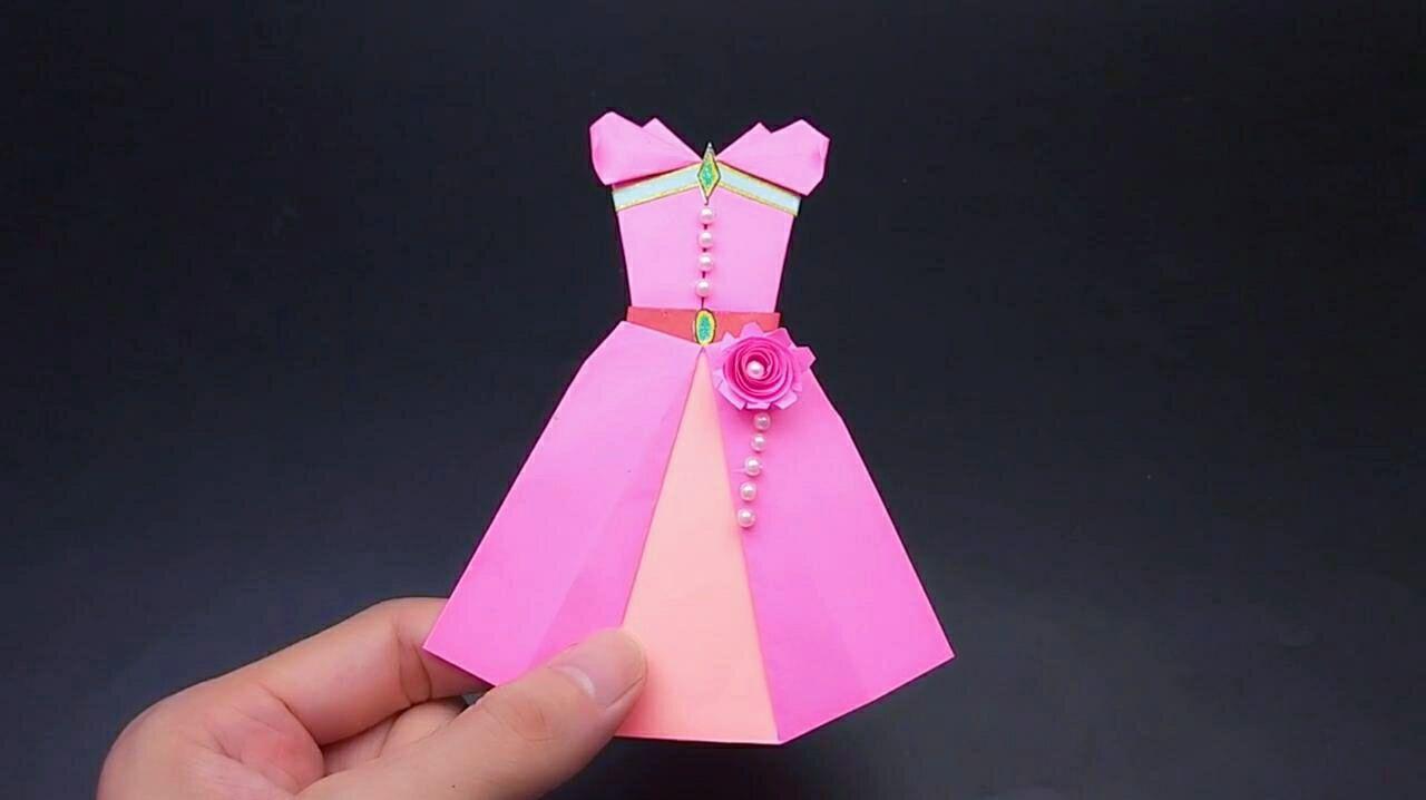 漂亮的超少女心连衣裙,成品真是美呆了!手工折纸视频