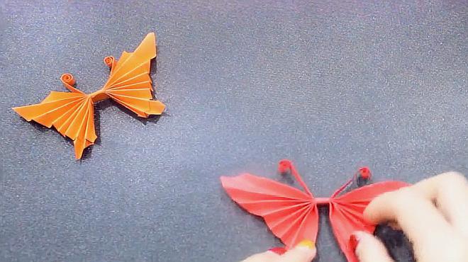 儿童手工制作蝴蝶折纸制作教程,非常的简单