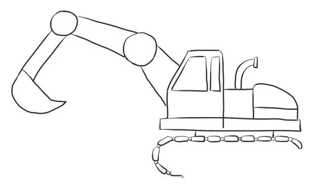 儿童挖掘机简笔画步骤 挖掘机简笔画图片