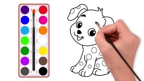 开心画世界简笔画教学第2集:可爱的卡通斑点狗