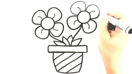 开心画世界简笔画第41集:儿童绘画简笔画教程如何画一盆鲜花!