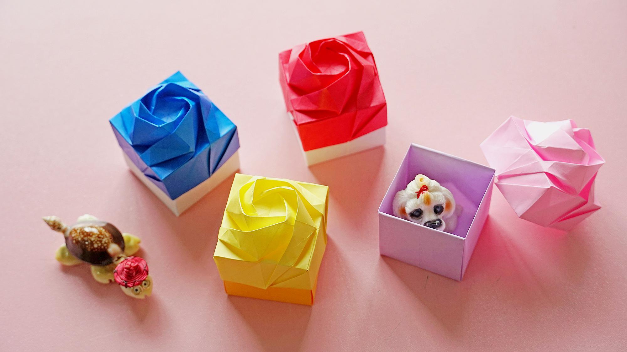 1玫瑰花盒子:精致的玫瑰花盒子,步骤简单,送给朋友也会显出满满的