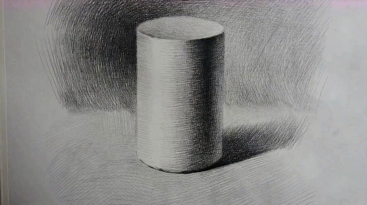 曹老师教你画素描《静物素描圆柱体的画法》
