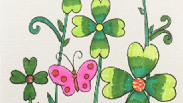早教简笔画:春天里的四叶草