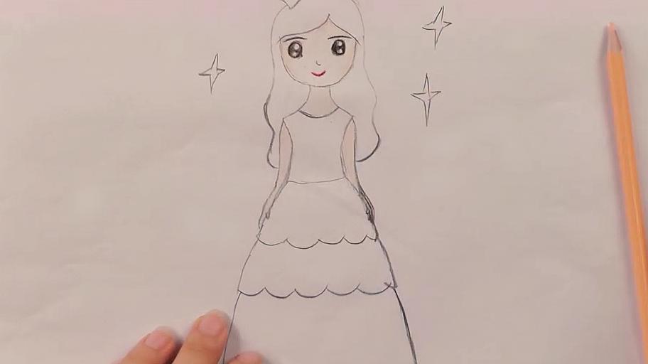 简笔画公主怎么画?