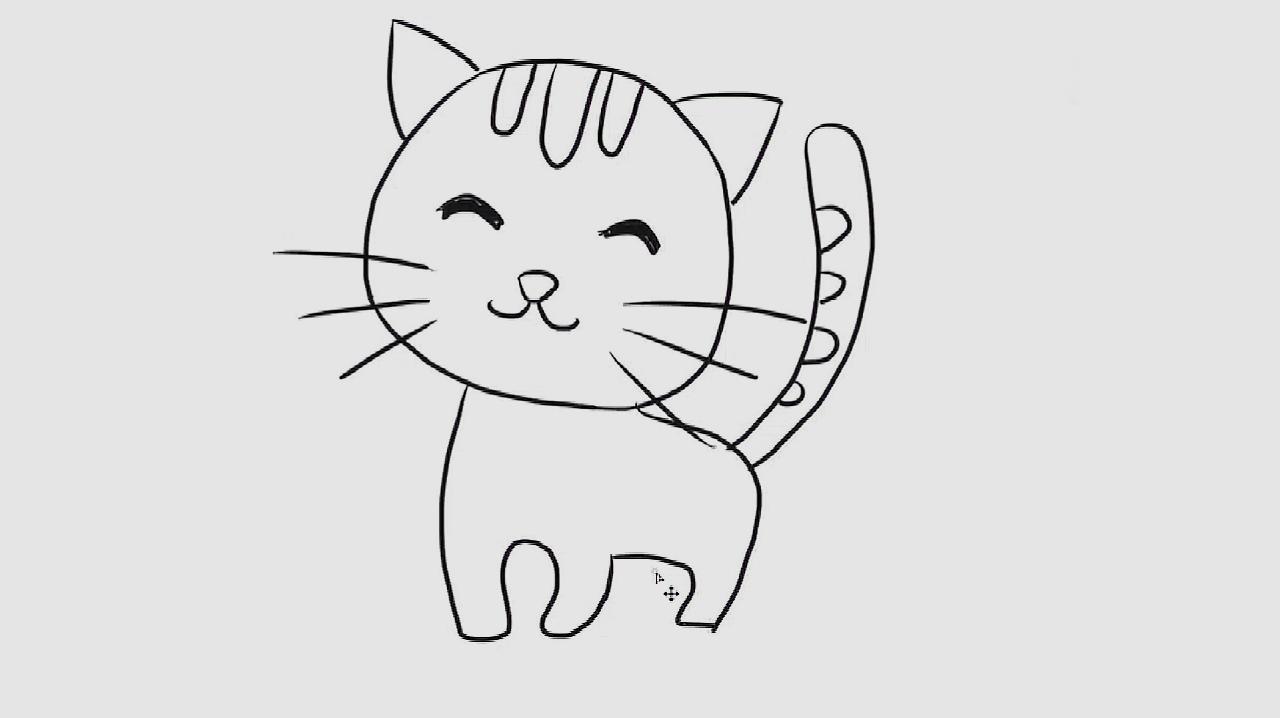 小猫咪简笔画,幼儿亲子简笔画,宝宝轻松学画画