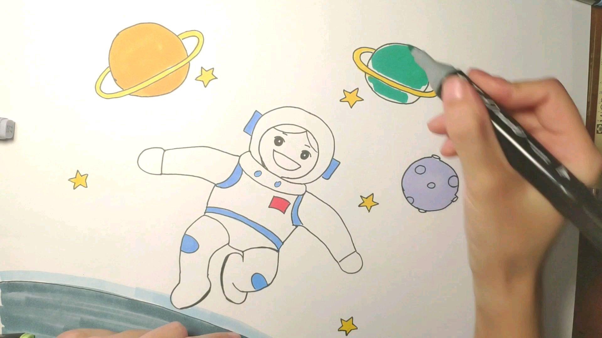 宇航员儿童简笔画手绘