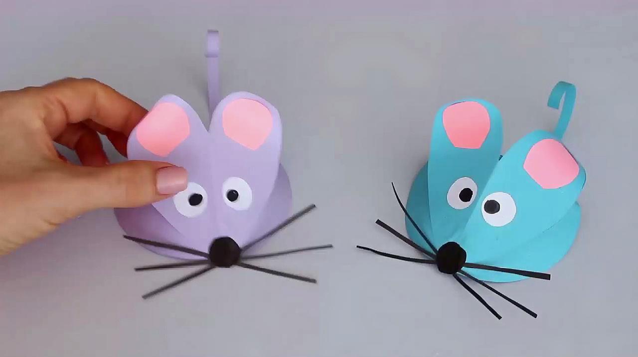 儿童手工,创意折纸技巧,你知道如何折叠出一个小老鼠吗