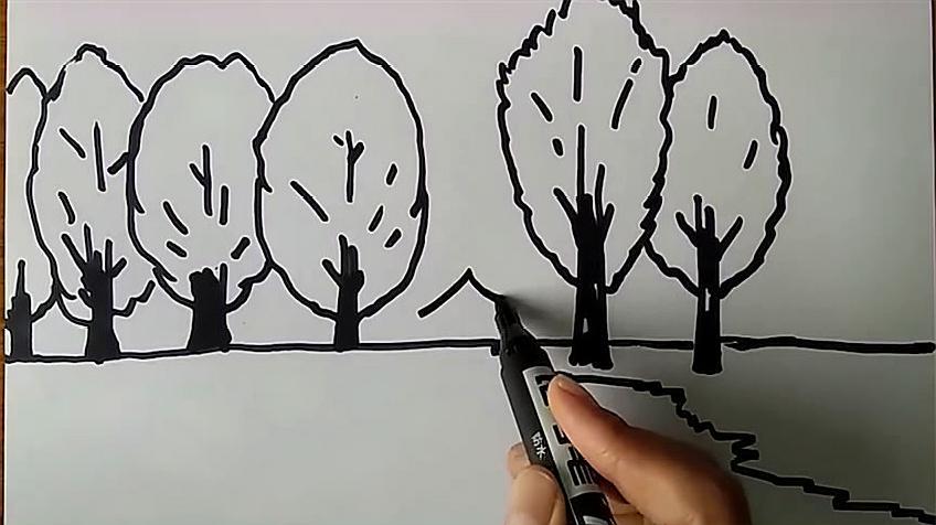 2秋天的画简笔画教程:先画出树干和树枝,在树枝上画少许树叶,再画一些