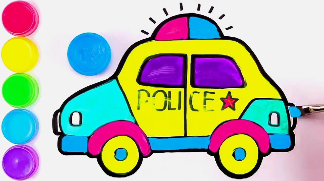 6小汽车的简笔画:先画出车顶,然后画出后面的轮胎,然后画前挡风玻璃