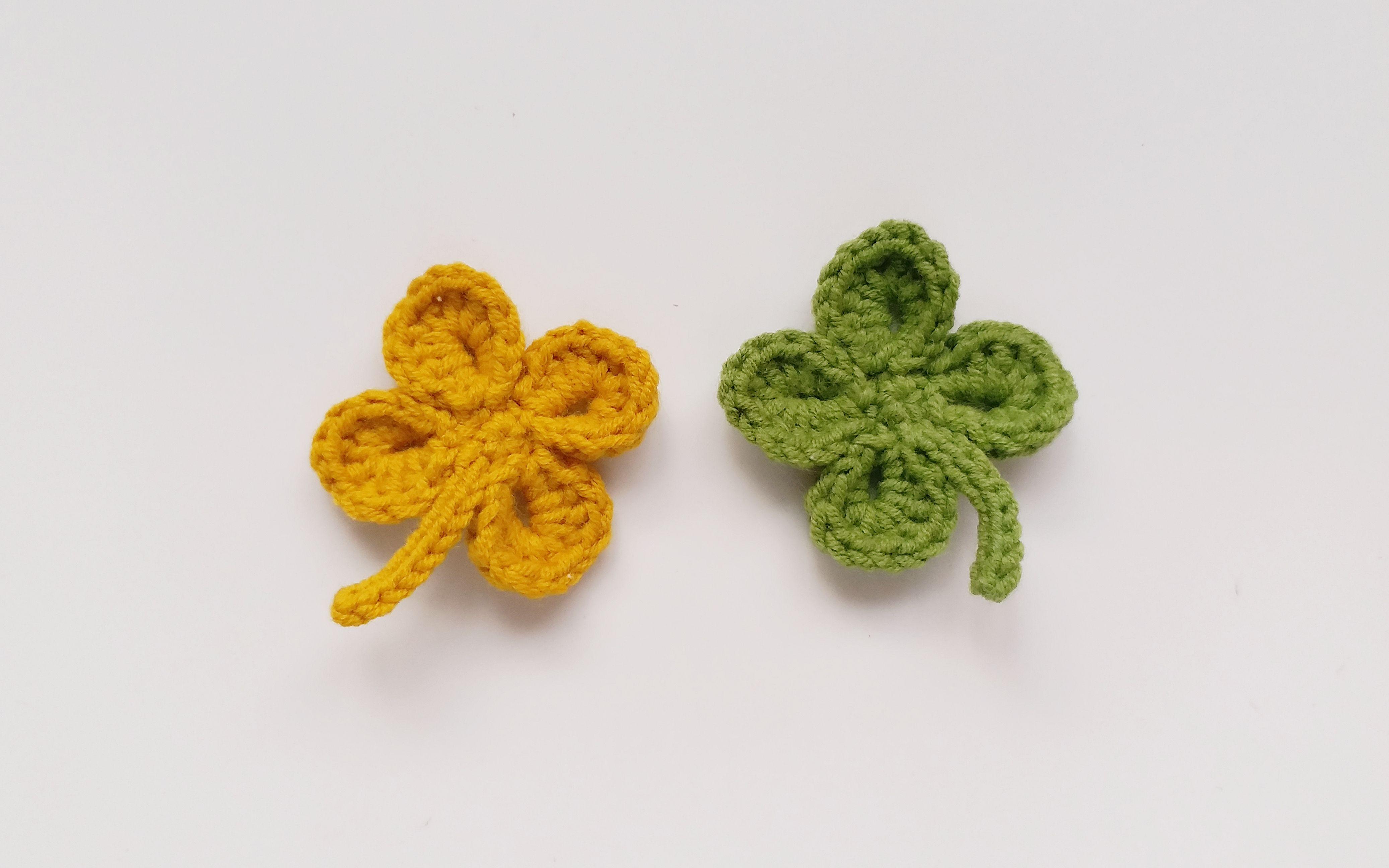 钩针编织 四叶草叶片的钩织方法 花样如蝶翩翩起舞图片