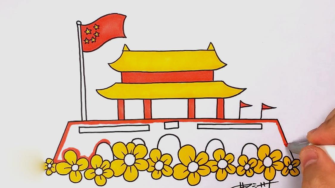 手抄报简笔画—国庆节的天安门,国旗,你学会了吗,动手画一画吧