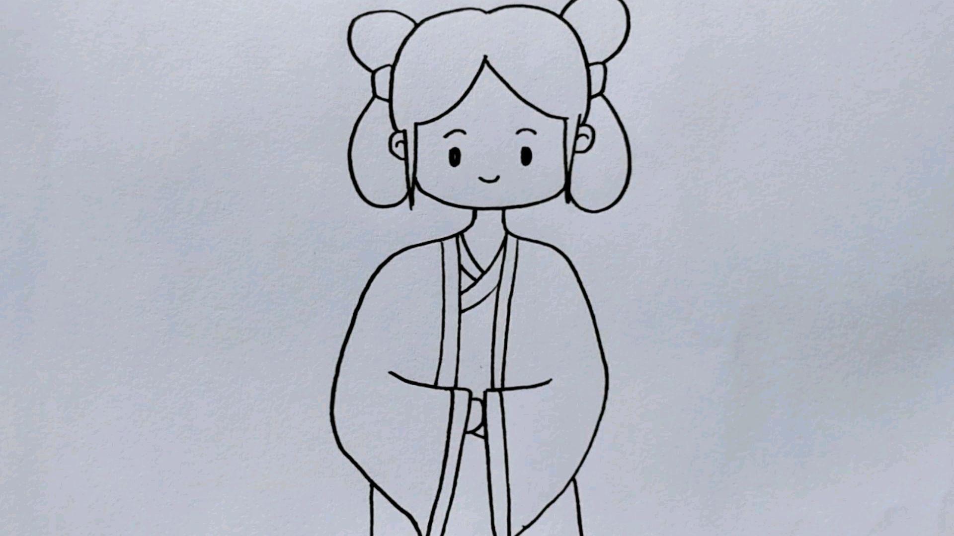 怎么画小女孩的简笔画?