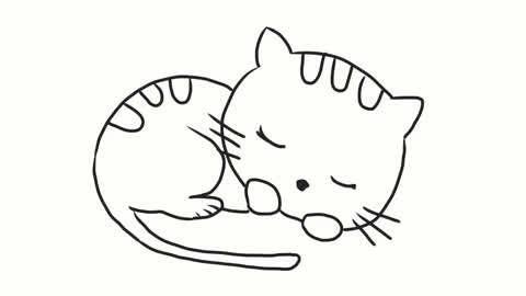 小林简笔画 可爱的小猫咪睡觉幼儿简笔画