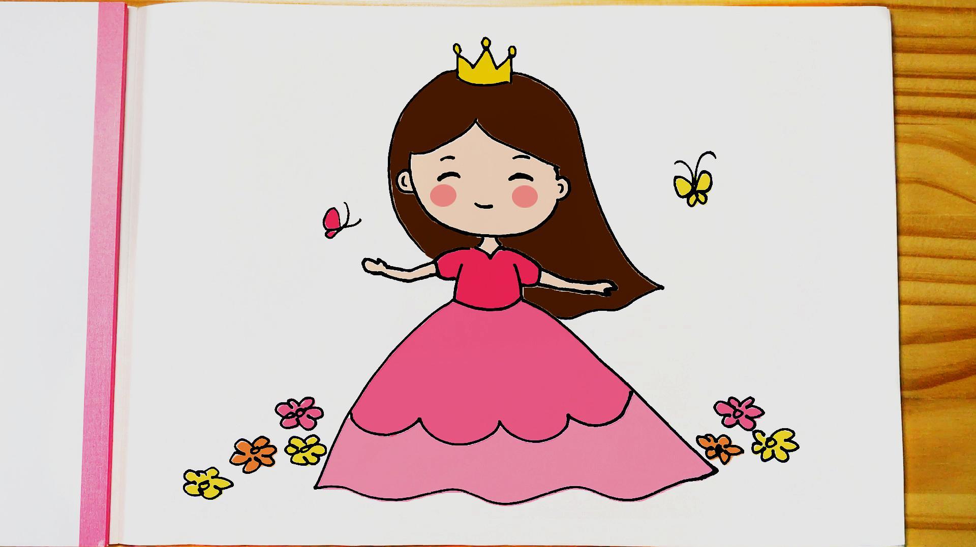 兒童簡筆畫教程|小公主和蝴蝶在花叢中翩翩起舞,簡單可愛