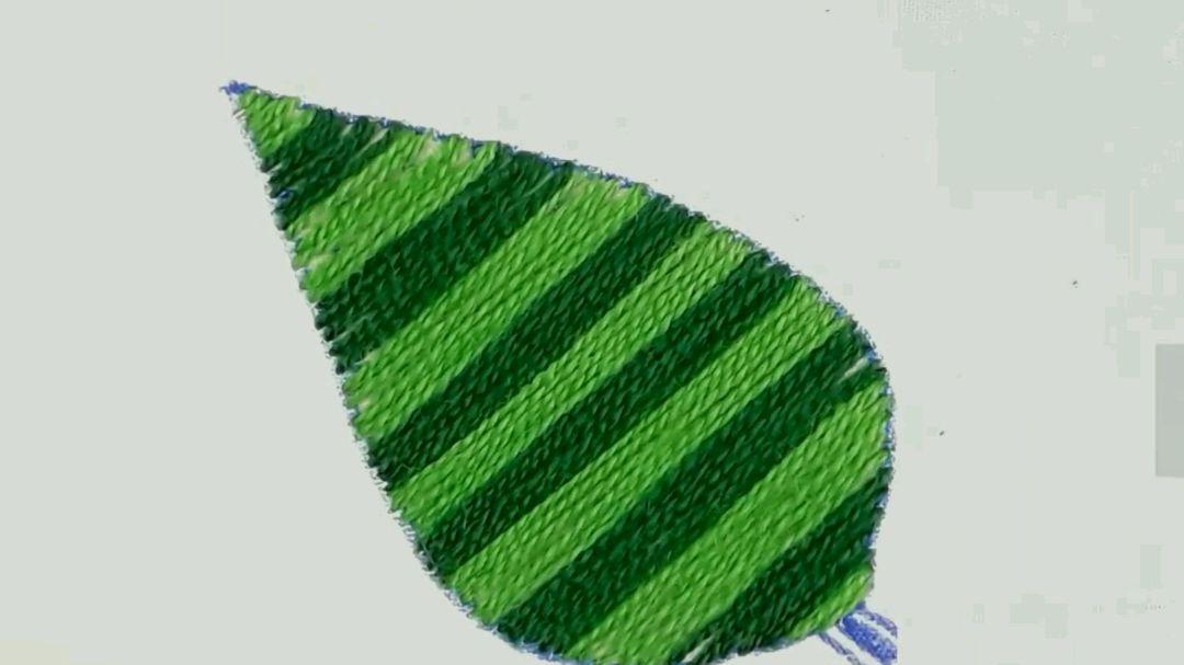 一种简单又实用的刺绣叶子针法教程,DIY手工刺绣教程
