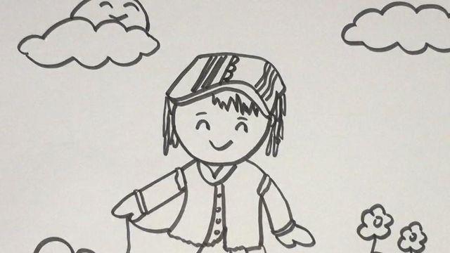 蒙古族等民族小孩简笔画怎么画图片