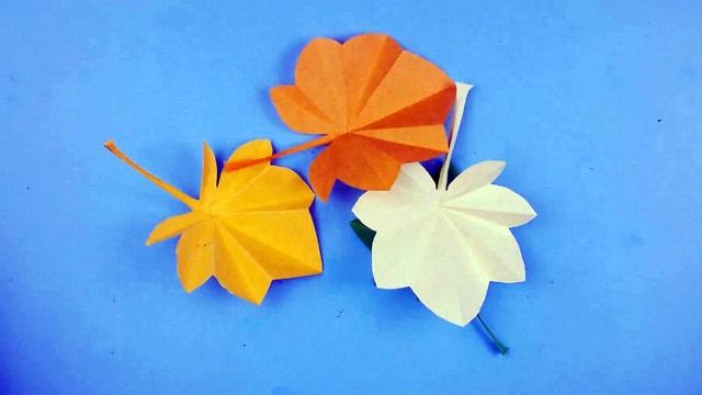 手工折纸剪纸diy,教你如何制作树叶图片