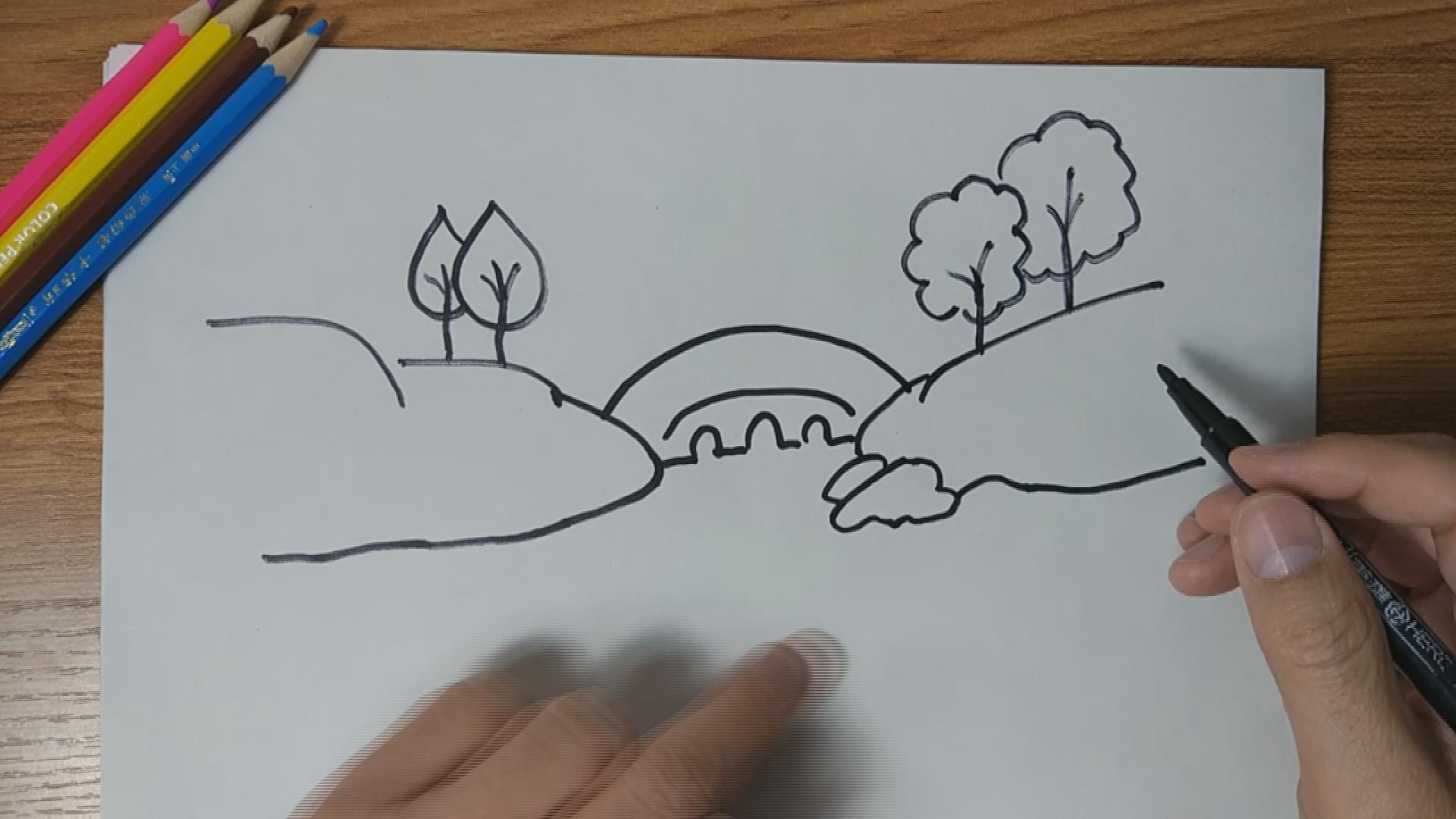 怎么手绘小桥流水山水风景简笔画?