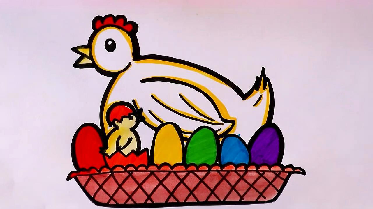 3小黄鸡的简笔画,这是一个黄色的小鸡,样子十分的呆萌,把他的眼睛画的