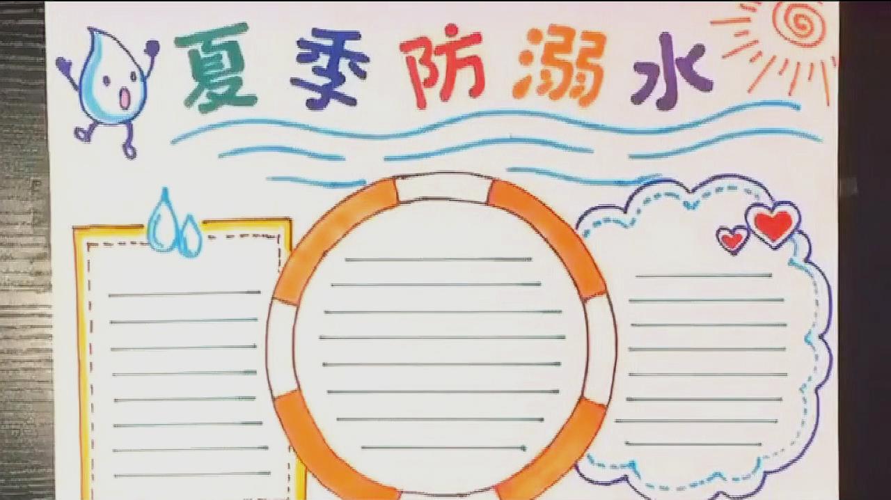 """01:46  来源:好看视频-学生作业""""防溺水手抄报模板""""看完一遍就能学会"""