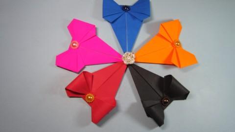 简单易学的折纸书签,看一遍就能学会蝴蝶结书签的折法