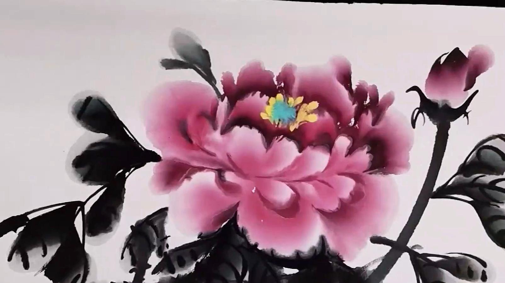 国画:老师展示牡丹绘画过程,笔法清晰,值得收藏!