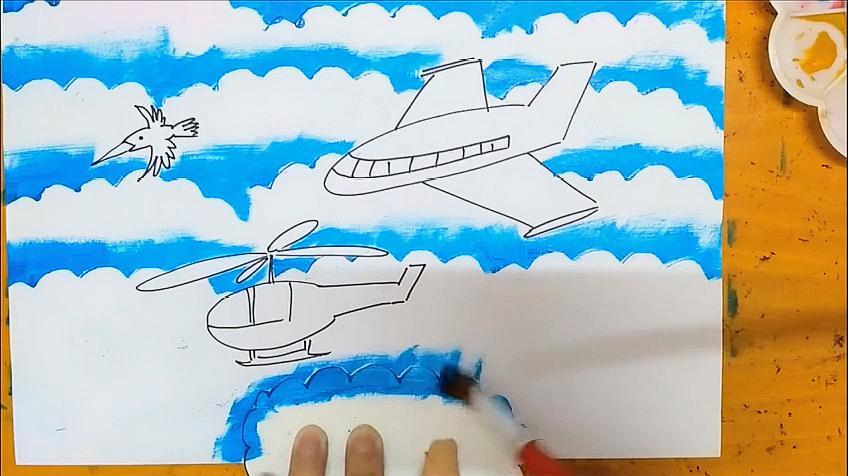 水粉顏料畫黑板報藍天白云