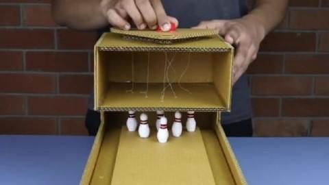儿童玩具diy小制作,制作纸壳保龄球场