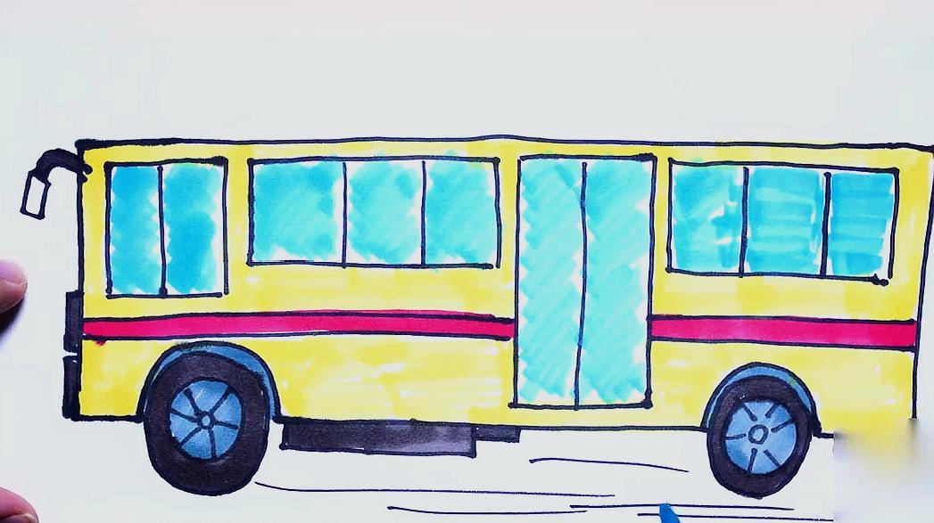 儿童绘画公交车简笔画教学,非常的好看还简单