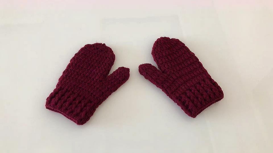 钩针编织简单又好看的儿童手套,好暖和,新手也能学会