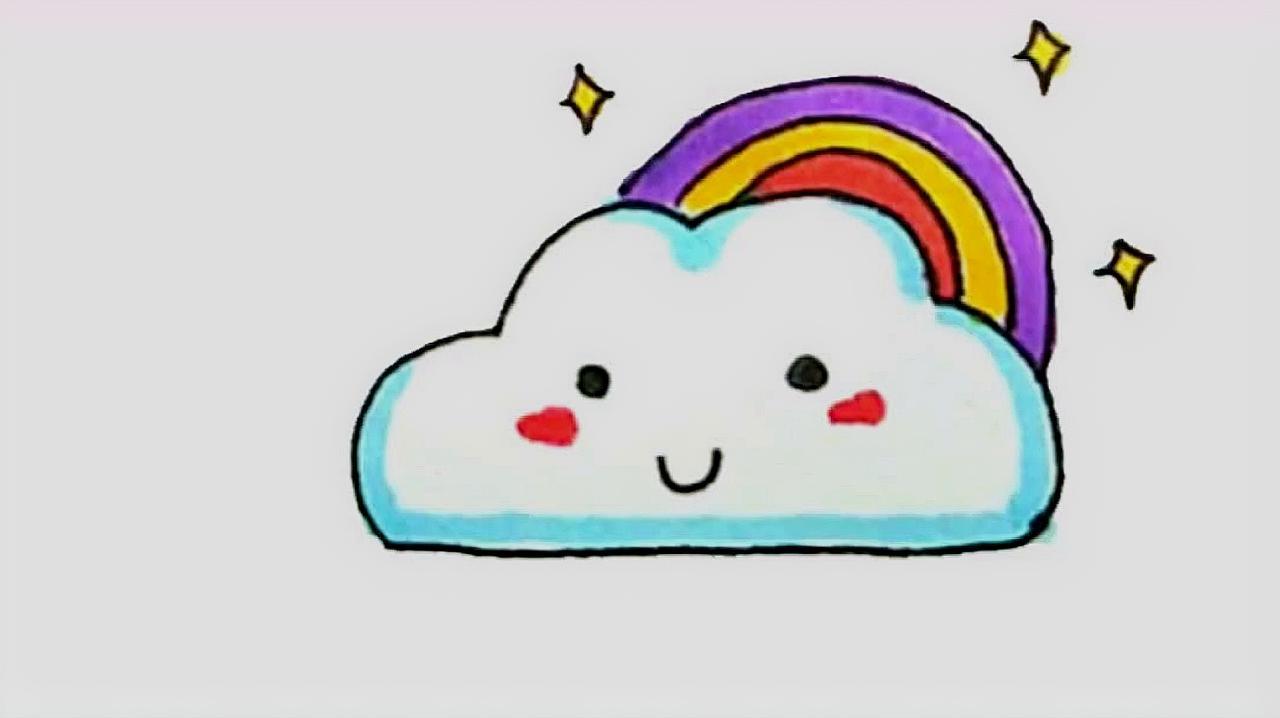 从彩虹云朵简笔画中,就可以看出孩子的想象力有多大