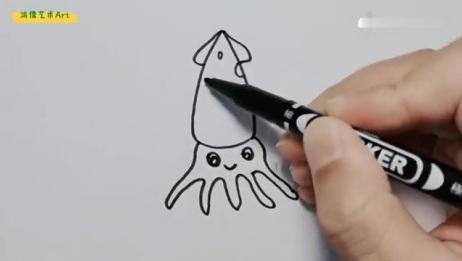 有趣可爱的的乌贼简笔画,超简单呢