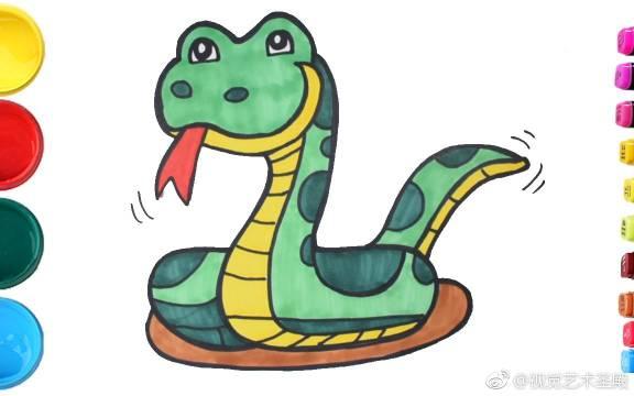 简笔画出细细长长的蛇