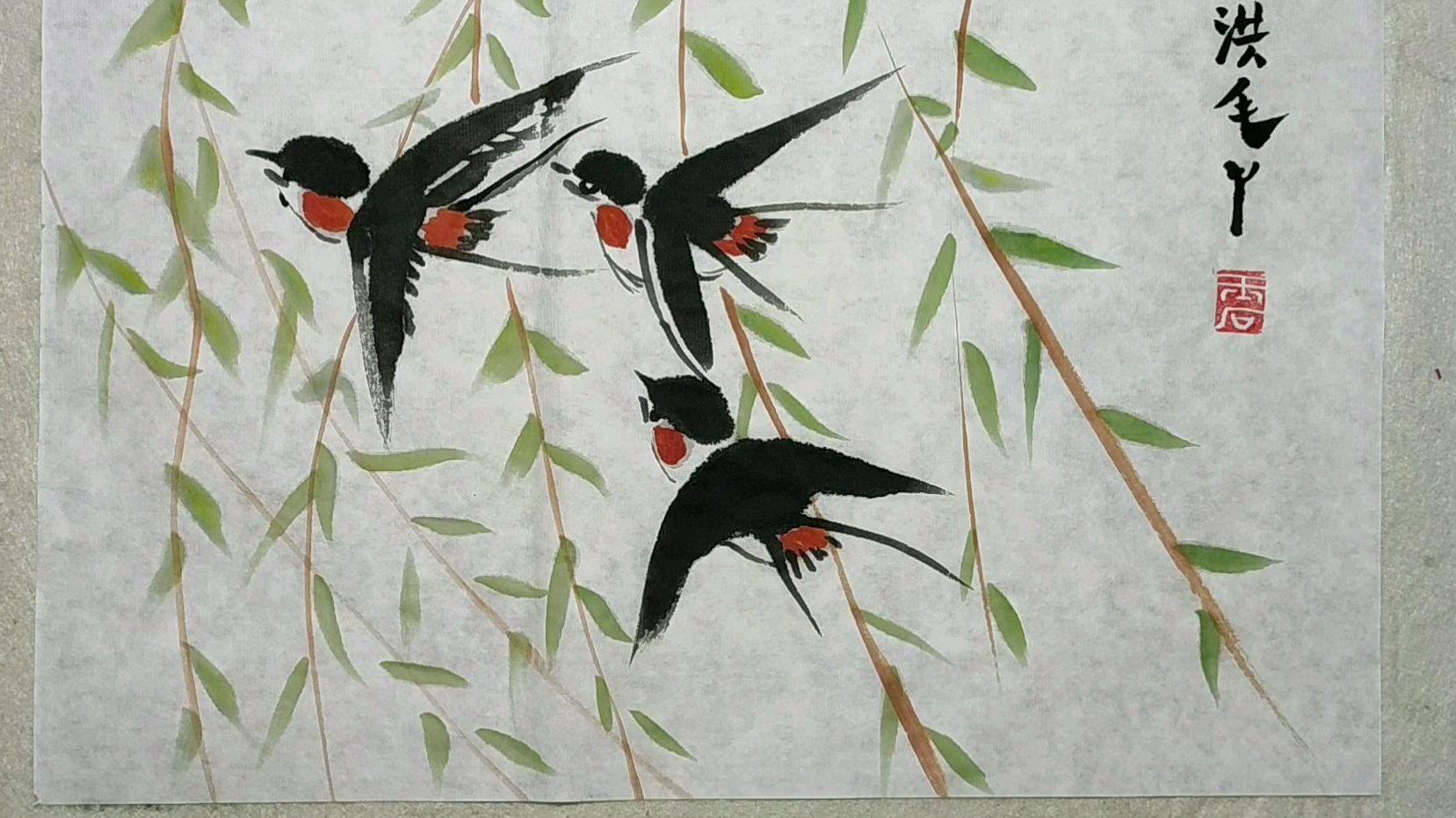 春天与小燕子儿童画