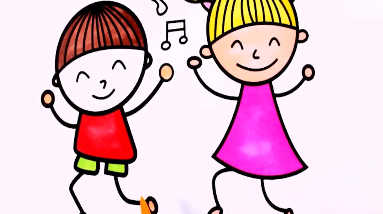 超级简单的跳舞小人简笔画,像不像六一儿童节表演的你们,真可爱