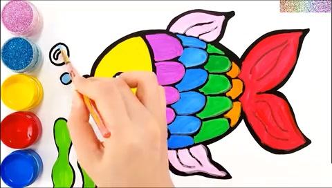 儿童学画画七彩鱼儿吐泡泡的亲子美术简笔画