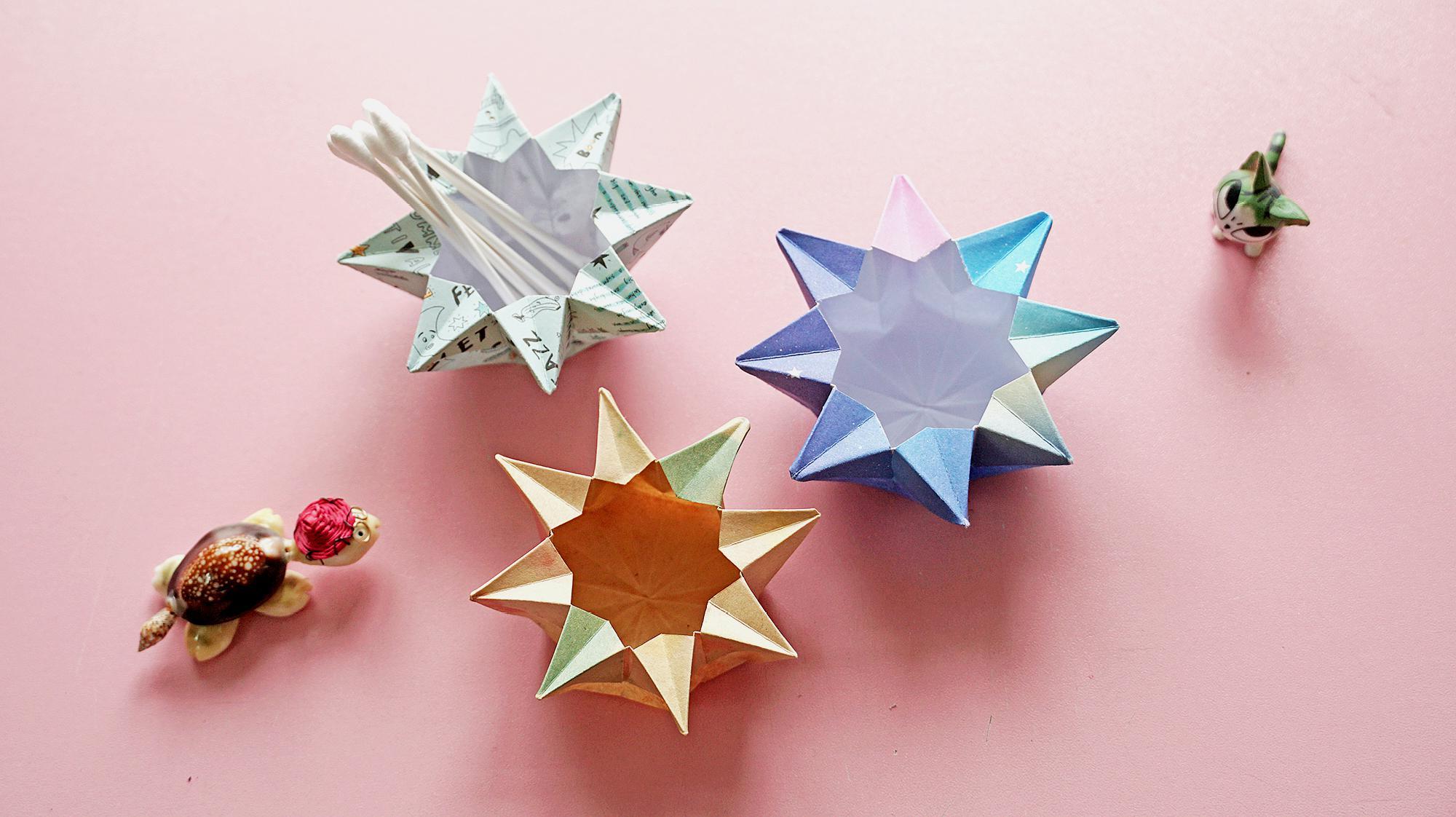 一张纸就可以制作出一个八角收纳盒,简单又好看,想知道怎么做的吗?