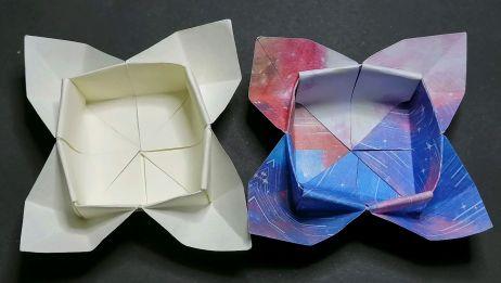 简单漂亮的花朵收纳盒折纸