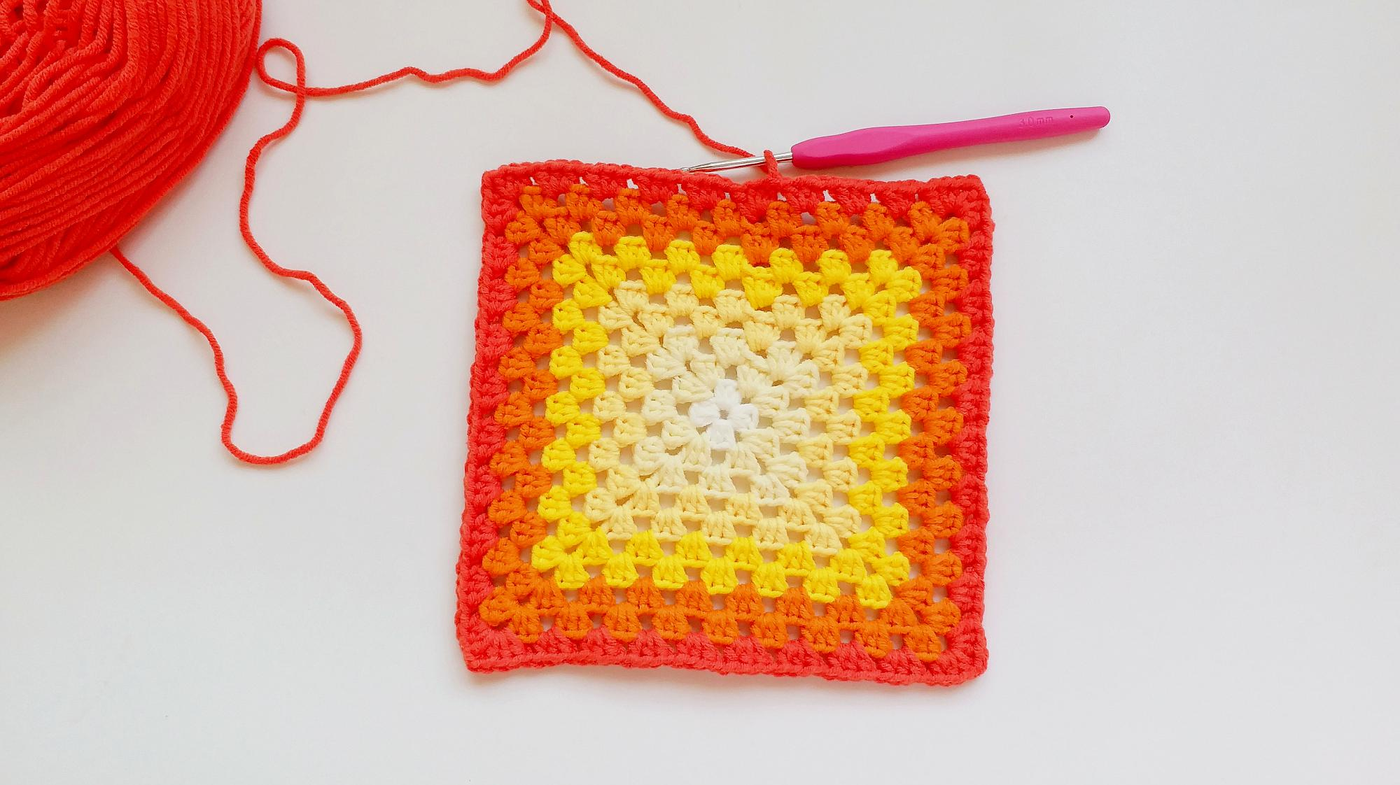 钩针编织 圈钩回字正方形花样 上手简单效果惊艳