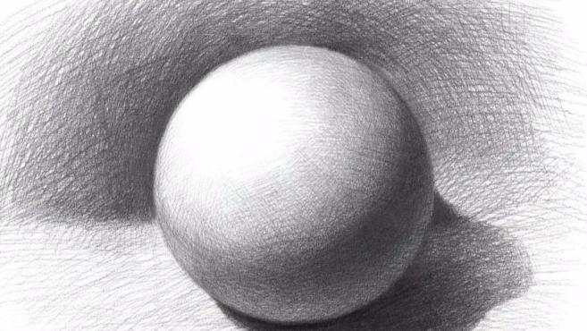3正常素描球体:先画出一个正方形,分四块,然后画出圆形,找出明暗交界图片