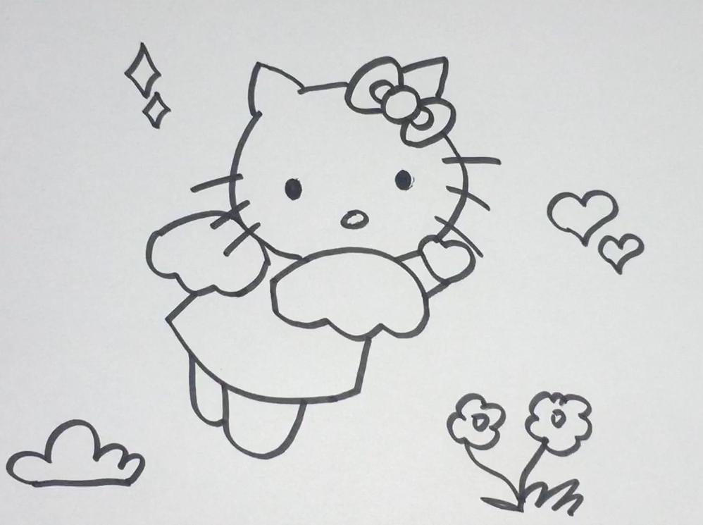 简笔画kitty猫 简单好学图片