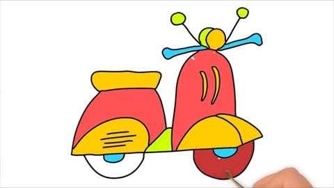 儿童宝宝学画画 简笔画摩托车