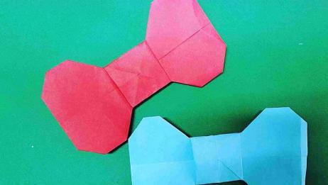 琳儿手工折纸:做一个萌哒哒的蝴蝶结,不仅简单还可以做礼物装饰